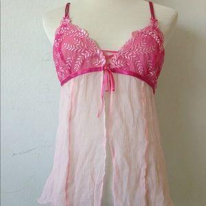Victoria's Secret Pink Silk Babydoll Open Front L